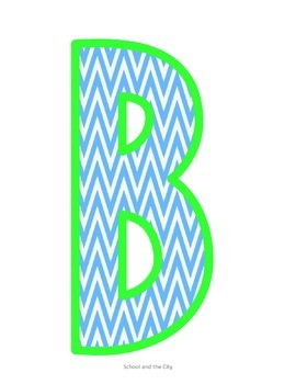 Blue & Green Chevron Letters: 9 inch Printables
