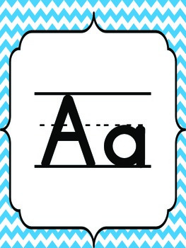 Blue & Green Chevron Themed Alphabet Banner