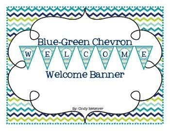 Blue-Green Chevron Welcome Banner