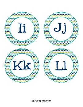 Blue-Green Chevron Word Wall Letters