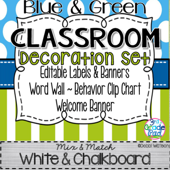 Blue & Green Classroom Decoration Set: Mix & Match Chalkboard and White