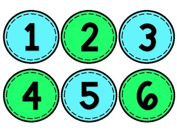 Blue & Green Classroom Numbers/Students Numbers (1-100)
