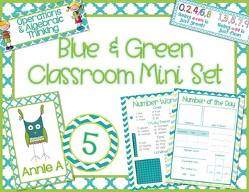 Blue & Green Classroom Theme Posters and More