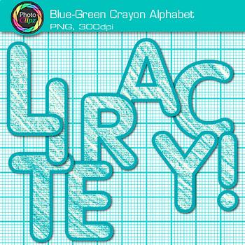 Blue-Green Crayon Alphabet Clip Art {Great for Classroom Decor & Resources}