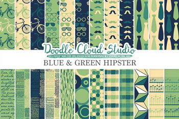 Blue Green Cream Hipster digital paper, Vintage Retro patterns, Father's day