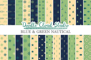 Blue Green Cream Nautical digital paper, Seal patterns, Ocean Steering wheel