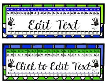 Blue-Green Cursive Desk Name Plate with editable text