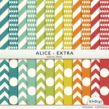 "Blue Green, Orange & Red Digital Paper - ""Alice Extra"""