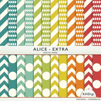 "Blue Green, Orange & Red Digital Paper - ""Alice Extra"""