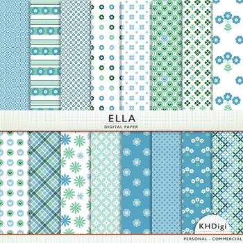 """Blue & Green Digital Paper - """"Ella"""""""