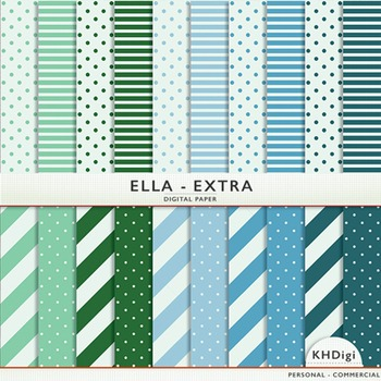 "Blue & Green Digital Paper - ""Ella Extra"""