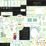 Blue, Green, Gray, & Chalkboard Classroom Decor Set