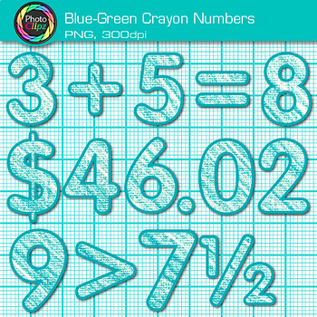 Blue-Green Math Numbers Clip Art {Great for Classroom Decor & Resources}