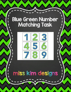 Blue Green Number Matching Folder Game for students with Autism