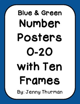 Blue & Green Number Posters with Ten Frames