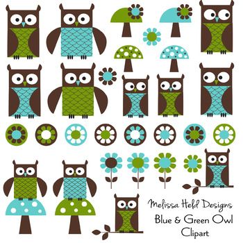 Blue Green Owl Digital Clipart