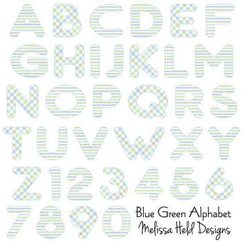 Clipart Alphabet: Blue Green Patterned Alphabet Clip Art