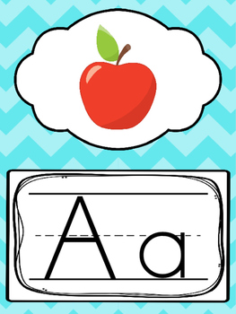 Blue, Green, Pink, Orange Alphabet Posters. Preschool-Kindergarten