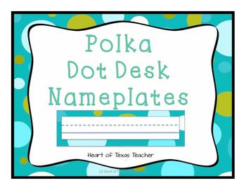 Blue Green Polka Dot Desk Nameplates