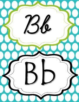 Blue & Green Polka Dot manuscript & cursive ABC Classroom Decorations