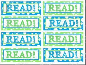 Bookmarks: blue & green polka dots