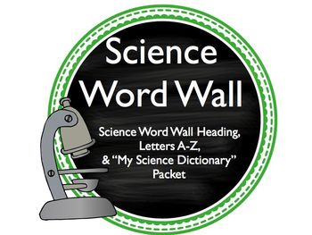 Blue & Green Science Word Wall with Student Dictionary Packet