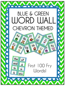 Blue & Green *Seahawks* Chevron themed Word Wall