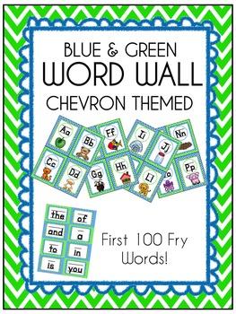 Blue & Green *Seahawks* Chevron themed Word Wall