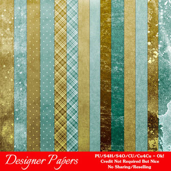 Blue Green Textured Digital Papers Package 1