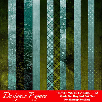 Blue Green Textured Digital Papers Package 2
