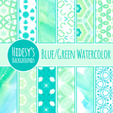 Blue Green Watercolor Backgrounds / Digital Papers Clip Art Commercial Us