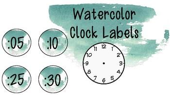 Blue-Green Watercolor Clock Labels