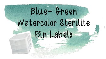 Blue-Green Watercolor Sterilite Labels