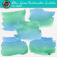 Blue-Green Watercolor Swatches Clip Art {Hand-Painted Textures for Backgrounds}