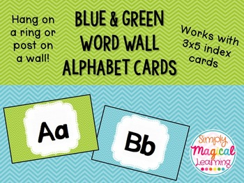 Blue & Green Word Wall Cards