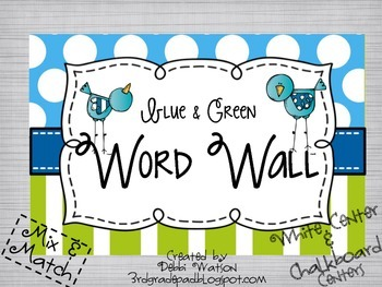 Blue & Green Word Wall: Mix & Match White/Chalkboard