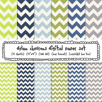 Blue, Green and Gray Chevron Digital Paper, Classroom Printable Backgrounds
