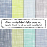 Blue, Green and Gray Crosshatch Digital Paper, Classroom Decor Backgrounds