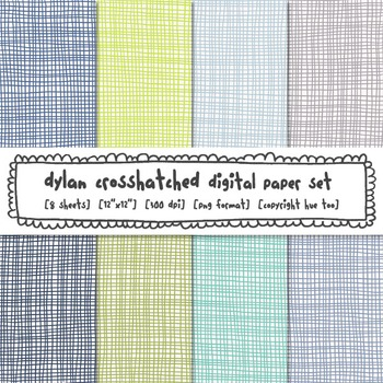 Blue, Green and Gray Crosshatch Digital Paper, Classroom D