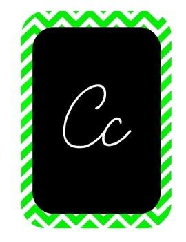 Blue, Green, and Purple Cursive Alphabet