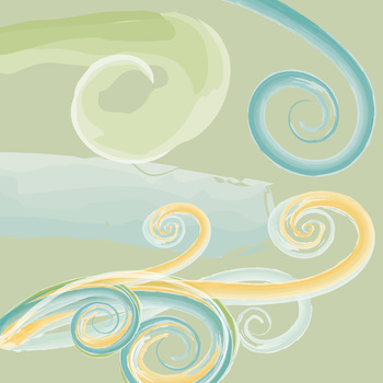 Watercolor ClipArt Swirls, Painted Flourishes, Blue, Green & Yellow