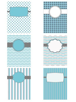 Blue & Grey Editable Binder Covers, Spines and Paper