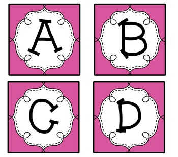 Pink Guided Reading Labels / Word Wall Letters aa-Z