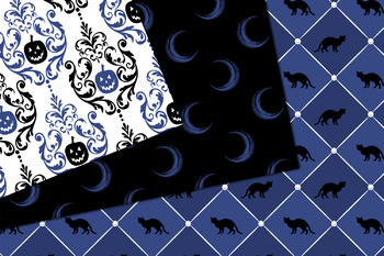 Blue Halloween Digital Paper