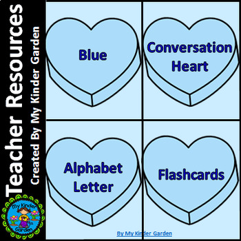 Blue Heart Alphabet Letter Flashcards Uppercase and Lowercase