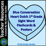 Blue Heart Dolch 1st Grade High Frequency Sight Word Posters and Flashcards