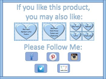 Blue Heart Dolch PrePrimer -3rd High Frequency Sight Word Posters & Flashcards
