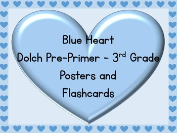 Blue Heart Dolch Pre-Primer - 3rd Grade Sight Word Posters