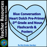 Blue Conversation Heart Dolch Flash Cards Posters  Pre-3rd Grade Nouns Bundle