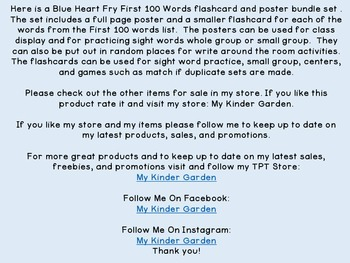 Blue Heart Fry 1st 100 Words High Frequency Sight Word Posters & Flashcards